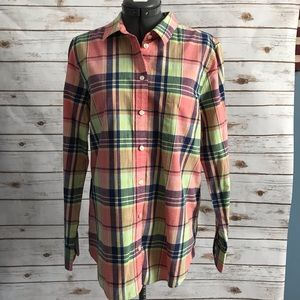 J Crew Factory plaid button front top medium NWT